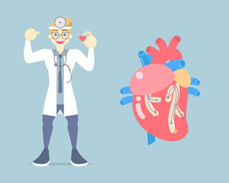 world heart day, heart health care concept, heart failure, attack disease, medical internal organs anatomy, with doctor in blue background, flat vector illustration cartoon design