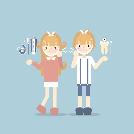 boy and girl kid have a toothache with toothpaste, toothbrush, dental floss, dental care concept, flat vector illustration character design clip art
