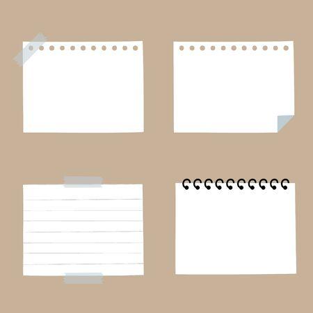 ensemble de bloc-notes en papier vierge, bulle de dialogue penser, parler, parler, modèle, design plat, vecteur, cadre de bannière de zone de texte d'illustration