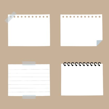 set of blank paper sticky note pad, speech bubble balloon think, speak, talk, template, flat design, vector, illustration text box banner frame