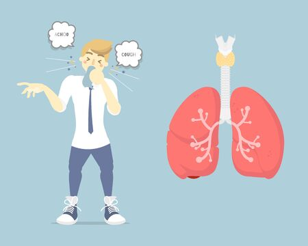 man coughing sneezing with lung, plague, pestilence, spread diseases germ concept, health care, anatomy, pollen allergy, air pollution disease symptoms, flat vector illustration character design