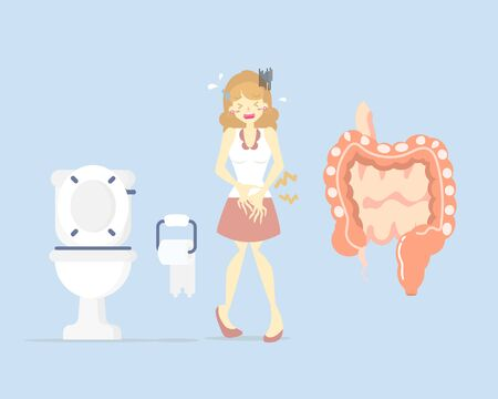 woman having stomach ache, needing to urinate, holding her bladder pee, poo with small and large intestine, health care concept, sanitation, flat character design vector illustration