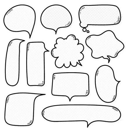 collection set of cute hand drawn line,  polka dots, halftone blank speech bubble balloon, black and white color, think speak talk concept, flat design vector illustration