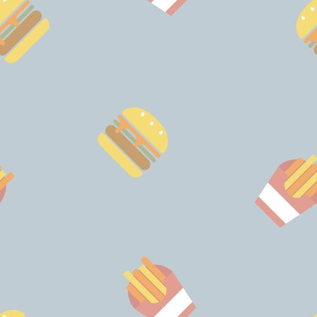 seamless fast food with hamburger and french fries repeat pattern in blue background, flat vector illustration design