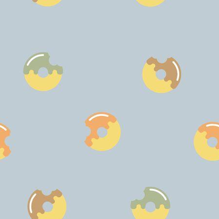 seamless sweet dessert donut repeat pattern in blue background, flat vector illustration design