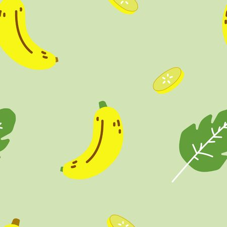 seamless hand drawn banana fruit with leaf repeat pattern, background flat vector illustration design