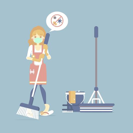 Female housekeeper, woman wearing protective mask holding broom with mop, bucket, chore, germ, cleaning concept, flat cartoon character design vector illustration