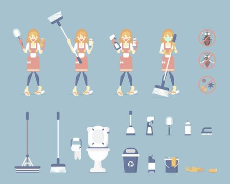 set of female housekeeper, woman holding toilet brush and sponge, cleaning toilet, bathroom with mop, broom, bin, bucket, spray, chore concept, flat character design vector illustration cartoon