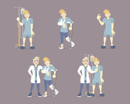 collection set of doctor and patient, health care, medical examination concept, flat character design clip art vector illustration