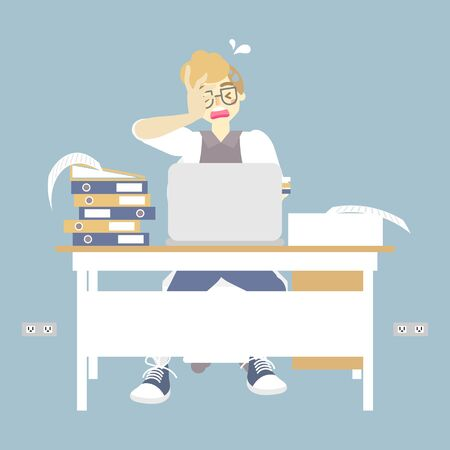 busy businessman working very hard, had a headache with laptop notebook, flat character design vector illustration  イラスト・ベクター素材