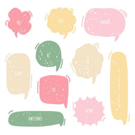collection set of hand drawing frame border, blank speech bubble balloon, think, speak, talk, text box, banner, flat, design, vector illustration
