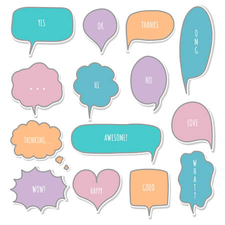 collection set of blank hand drawing speech bubble balloon, think speak talk text box, banner, flat vector illustration design
