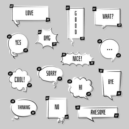 collection set of hand drawing line frame border, speech bubble balloon with quotation marks, think, speak, talk, text box, banner, flat, design, vector illustration