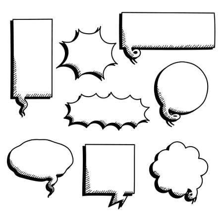 collection set of blank black and white hand drawing speech bubble balloon, think speak talk text box, banner, flat vector illustration design