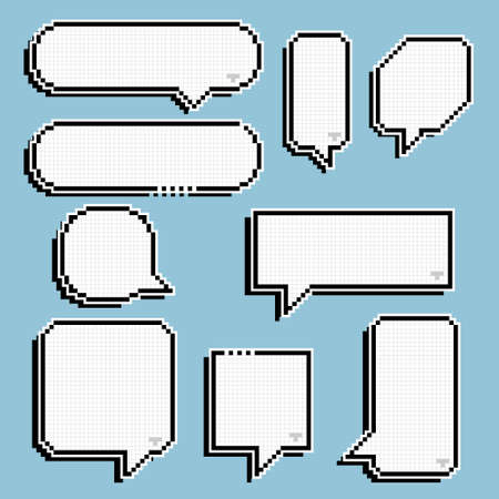collection set of retro game 8 bit line pixel speech bubble balloon black and white color with shadow, flat design vector illustration Ilustración de vector