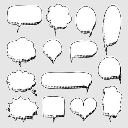 collection set of hand drawn pop art polka dots halftone, blank speech bubble balloon, black and white color, shout, think, speak, talk, text box, banner, flat, design, vector illustration