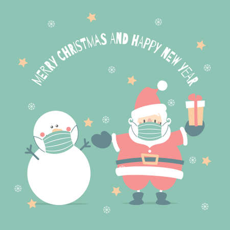 merry christmas and happy new year with santa claus wearing protective mask and snowman in the winter season green background, health care concept, flat vector illustration cartoon character design
