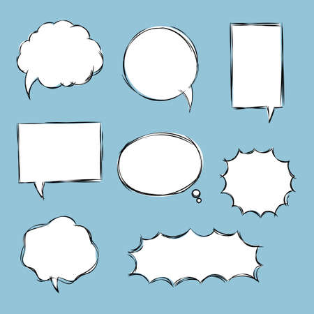 collection set of blank  black and white hand drawing speech bubble balloon, think speak talk text box, banner, flat vector illustration design Ilustracja
