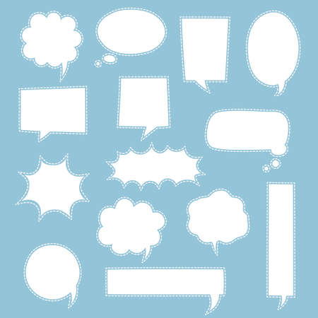 collection set of blank black and white dashed line hand drawn speech bubble balloon, think speak talk whisper text box, flat vector illustration design isolated Ilustracja