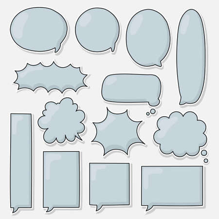 collection set of hand drawing frame border, blank speech bubble balloon, blue colour, think, speak, talk, text box, banner, flat, design, vector illustration isolated Ilustracja