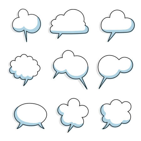 collection set of hand drawing frame border, blank speech bubble balloon with shadow, blue color, think, speak, talk, text box, banner, flat, design, vector illustration isolated