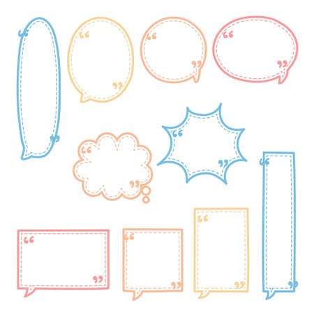 collection set of blank dashed line hand drawn speech bubble balloon pastel color, think speak talk whisper text box, flat vector illustration design isolated