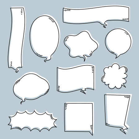 collection set of hand drawing frame border, blank speech bubble balloon, think, speak, talk, text box, banner, flat, design, vector illustration isolated