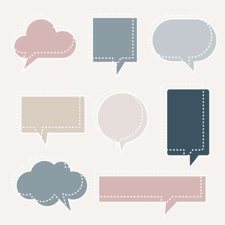 collection set of blank dashed line hand drawn speech bubble balloon pastel color, think speak talk whisper text box, flat vector illustration design isolated Vecteurs