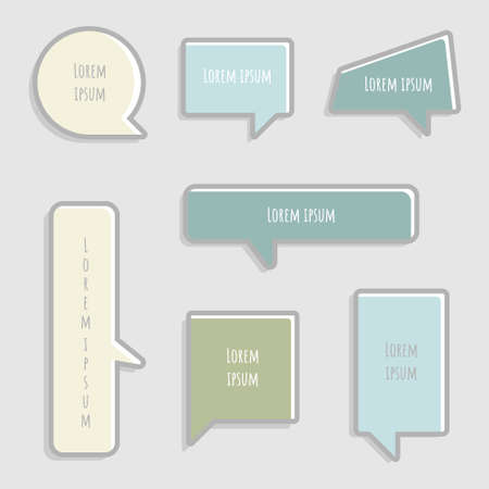 collection set of hand drawing frame border, blank speech bubble balloon with shadow, think, speak, talk, text box, banner, flat, design, vector illustration isolated