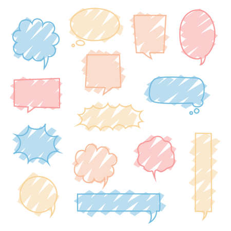 collection set of cute hand drawing frame border, blank speech bubble balloon, think, speak, talk, text box, banner, flat, design, vector illustration isolated