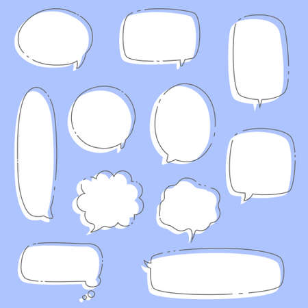 collection set of hand drawing frame border, blank speech bubble balloon, think, speak, talk, text box, banner, flat, design, vector illustration