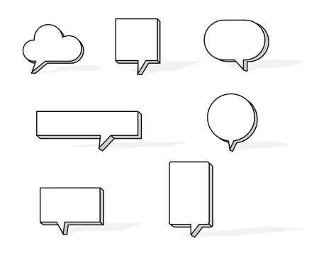 collection set of blank hand drawn speech bubble balloon with shadow, think speak talk whisper text box, flat vector illustration design isolated