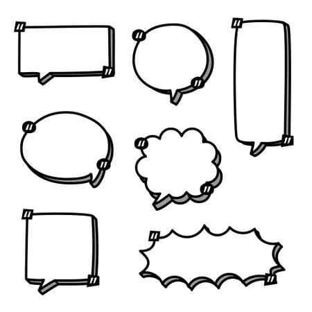 collection set of blank hand drawn speech bubble balloon with quotation marks and shadow, think speak talk whisper text box, flat vector illustration design isolated
