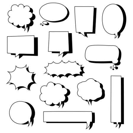collection set of hand drawn blank speech bubble balloon, think, speak, talk, text box banner with shadow, black and white color, flat design vector illustration