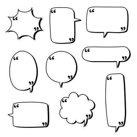 collection set of blank hand drawn speech bubble balloon with quotation marks, think speak talk whisper text box, flat vector illustration design isolated