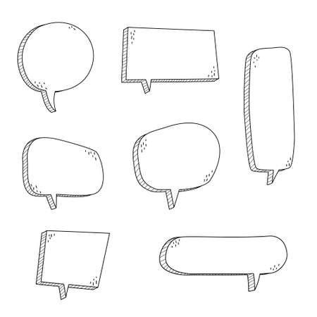 collection set of hand drawn 3D blank speech bubble balloon, think, speak, talk, text box banner, black and white color, flat design vector illustration