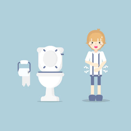 boy having stomach ache, needing to urinate, holding his poo, suffering from diarrhea or constipation, health care concept, sanitation concept, flat character design vector illustration Vector Illustratie