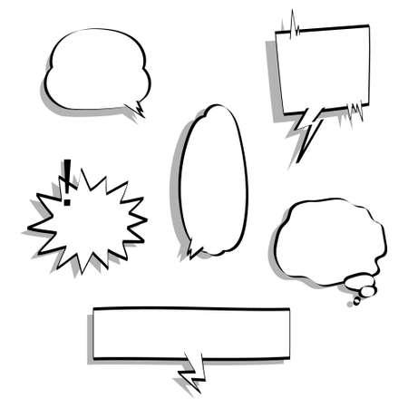 collection set of blank speech bubble balloon, think, speak, talk, text box, banner, flat, design, vector illustration Vector Illustratie