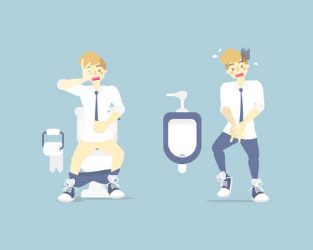 man having stomach ache, needing to urinate, holding his poo, bladder, pee, suffering from diarrhea or constipation, health care concept, flat character design vector illustration