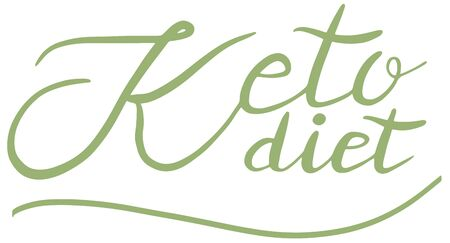 Keto diet, friendly, lettering calligraphy set, colorful isolated handwritten green text on white background. Diet, healthy food, wellness, ketosis, ketogenic.