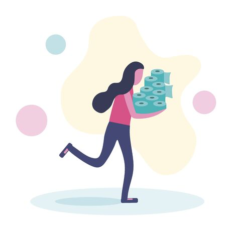 Woman in panic shopping in a supermaket grabs toilet paper in bulk due to coronavirus crisis. Flat vector illustration.