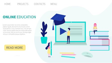Flat design concept of online education, training and courses, learning, video tutorials. webinars. Landing page template. Vector illustration for web and graphic design