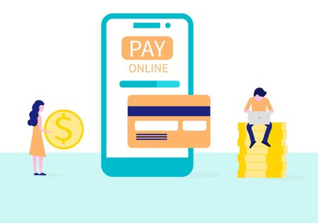 Online banking. Concept of electronic payment and transaction. People transfer money with atm on smartphone. Vector flat illustration