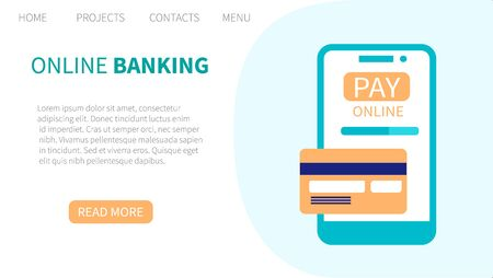 Online banking. Concept of electronic payment and transaction. Landing page template. Vector illustration for web and graphic design