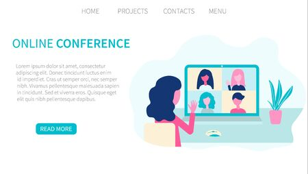 Video conference. People group, virtual meeting. Online communication vector concept in flat design. Landing page website template. Vector illustration for web and graphic design