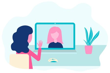 Video conference. Virtual meeting concept. People on computer screen talking. Online communication vector concept in flat design Ilustração
