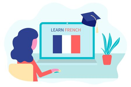 Online French Learning, distance education concept. Language training and courses. Woman student studies foreign languages on a website in a laptop. Vector in flat design