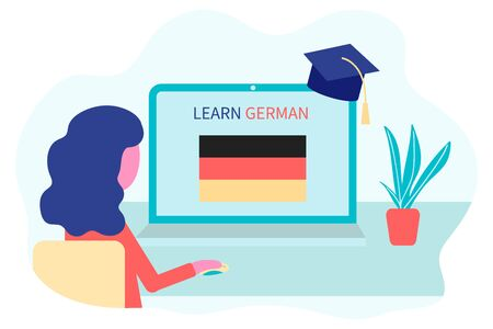 Online German Learning, distance education concept. Language training and courses. Woman student studies foreign languages on a website in a laptop. Vector in flat design