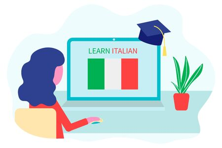 Online Italian Learning, distance education concept. Language training and courses. Woman student studies foreign languages on a website in a laptop. Vector in flat design