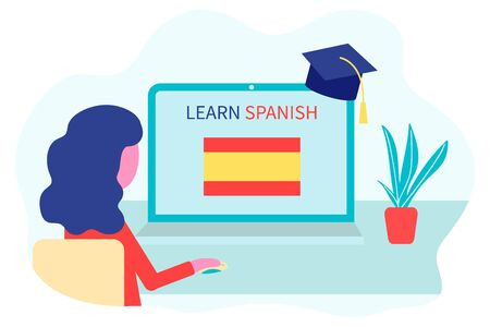 Online Spanish Learning, distance education concept. Language training and courses. Woman student studies foreign languages on a website in a laptop. Vector in flat design